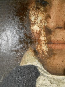 Patch revealed during cleaning of 200 year old oil painting.
