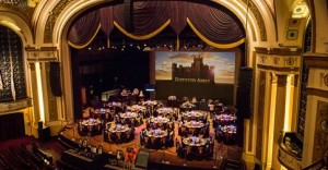 Pre-screening dinner party on stage at the Veterans Memorial Theater.