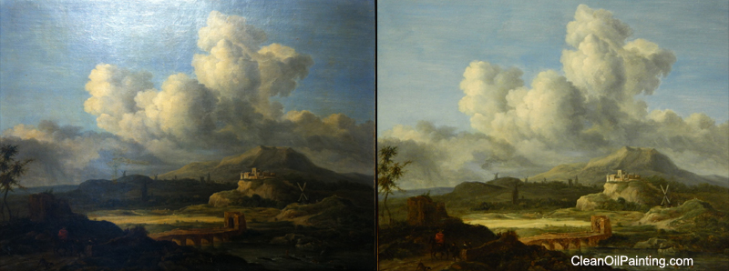 Art restoration mid 1800s angloeuro painting before and after cleaning solutioingenieria Gallery
