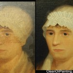 Early 1800's portrait before and after restoration.