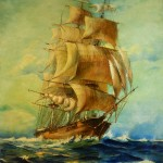 1940's clipper ship painting, partially cleaned.