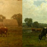 G.A. Hayes American landscape with cows, before and after cleaning.