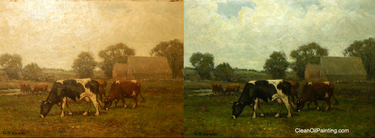 Art restoration ga hayes american landscape with cows before and after cleaning solutioingenieria Gallery