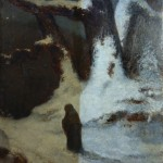 William Morris Hunt oil painting partially cleaned.