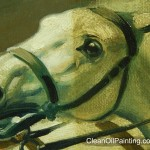 Painting of a horse, partially cleaned.