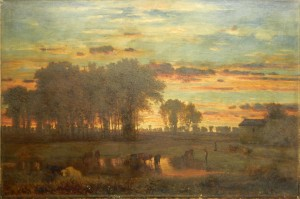 The George Inness Tonalist Sunset Oil Painting.