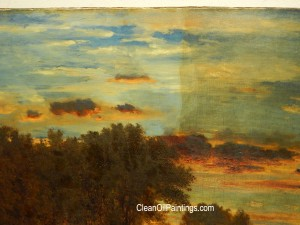 Inness oil painting sky + trees detail
