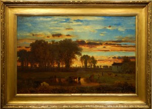 George Inness Sunset oil painting after cleaning.