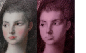 Infra-red photo (right) shows faint under-drawing on the fase of Gainsborough's portrait of The Honourable Mrs Graham, at the Scottish National Gallery.
